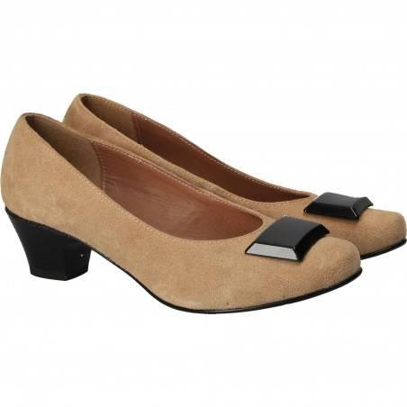 Pantofi din piele, eleganti, femei, maro