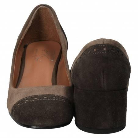 Pantofi Femei Elegant Gri cu Maro
