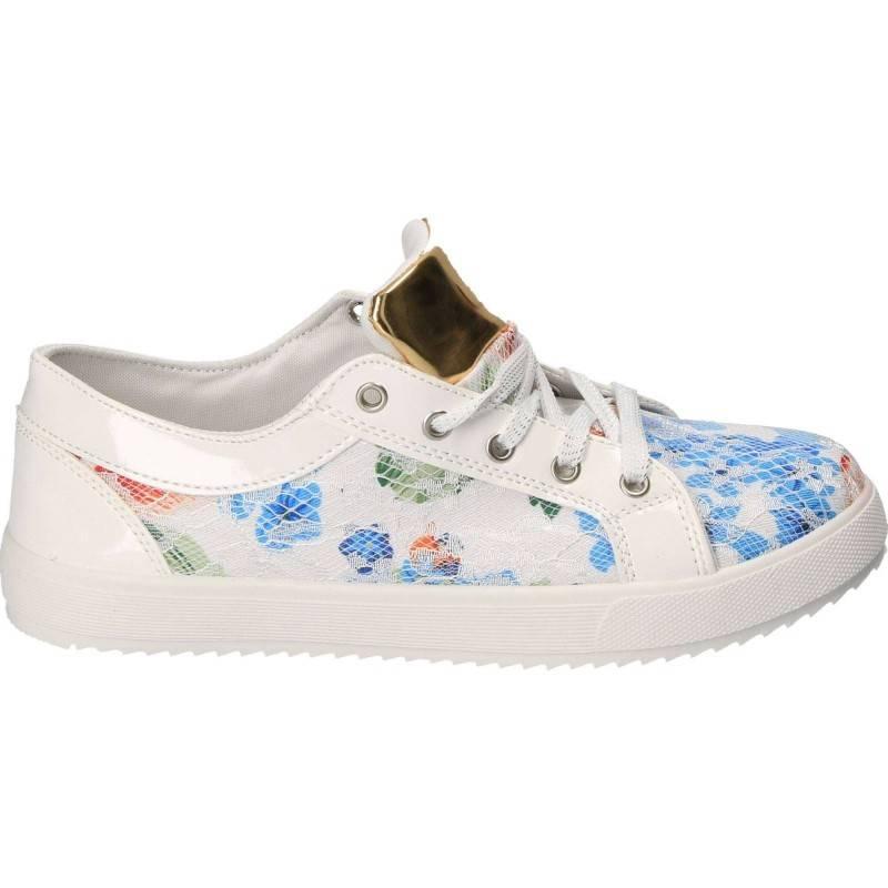 Pantofi imprimare florala cu dantela alba