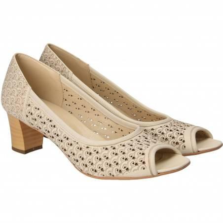 Pantofi Piele Femei Elegant Bej