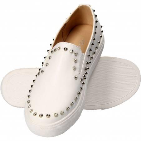 Pantofi albi trendy, cu talpa groasa, din piele ecologica
