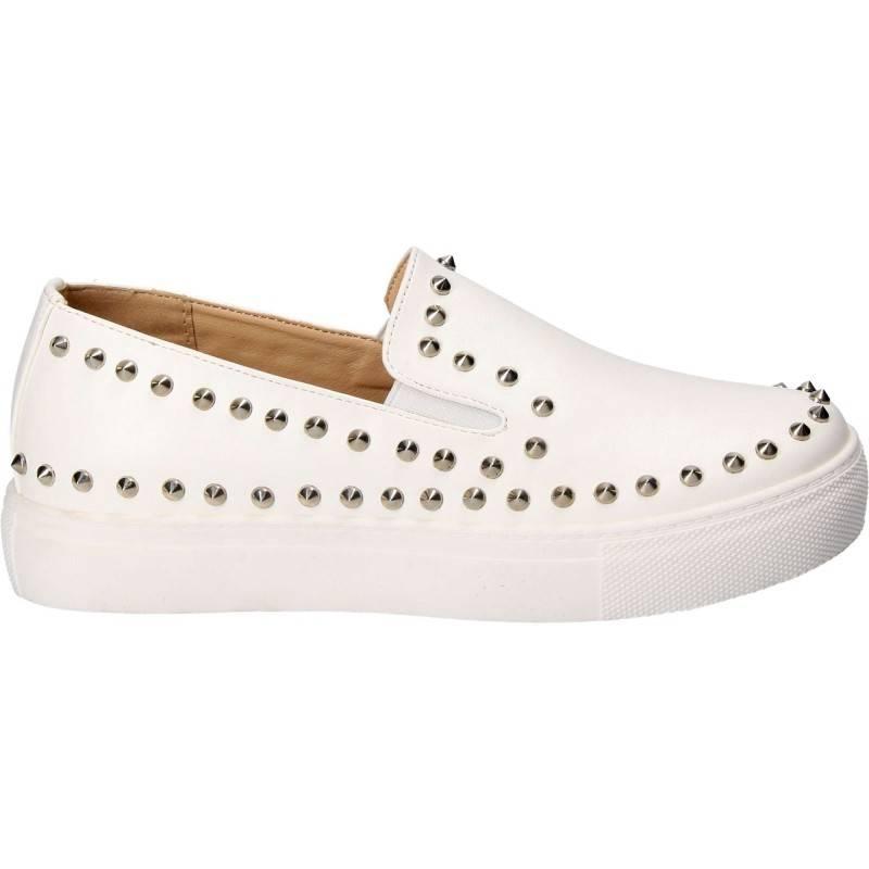 Pantofi Fete, piele ecologica, casual, albi