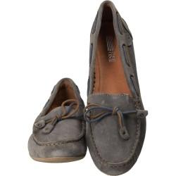 Pantofi femei mocasini, piele, gri