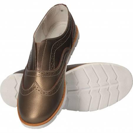 Pantofi Femei piele naturala, casual, bronz-auriu