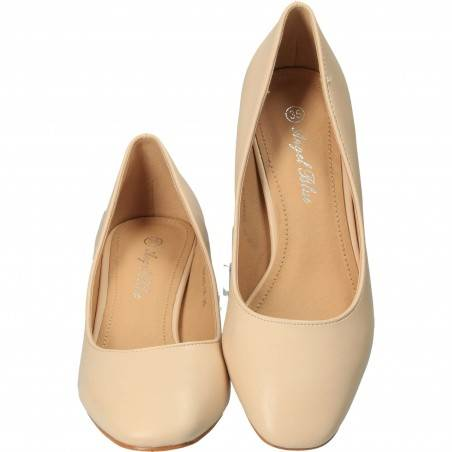 Pantofi Femei, piele ecologica, elegant, bej