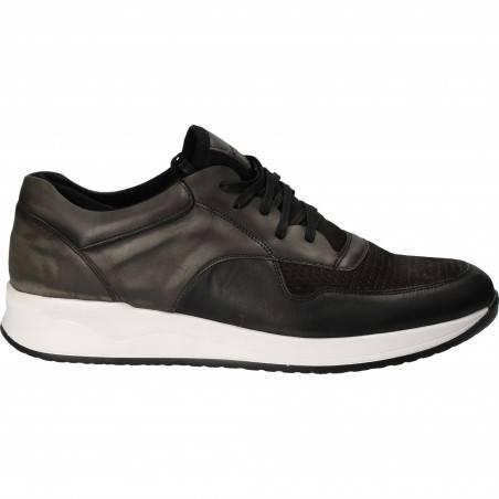Pantofi Barbati Casual Piele Negru cu Gri