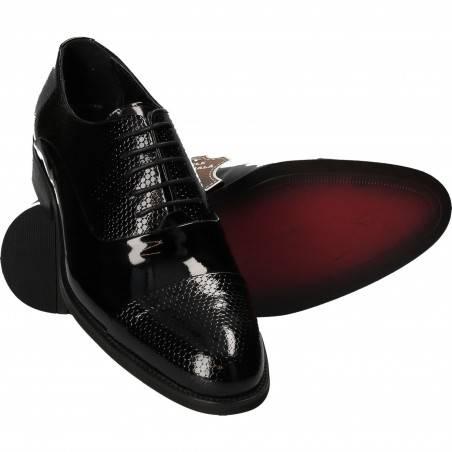 Pantofi din piele, eleganti, barbati, lac negru