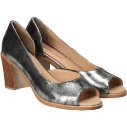 Pantofi Femei, piele, elegant, argintiu