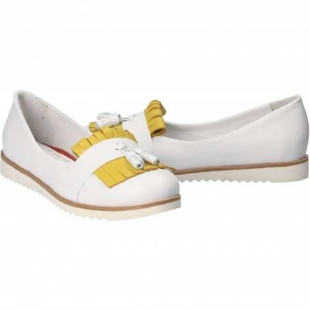 Pantofi Femei, piele, casual, alb cu galben VGT3020EAG-245