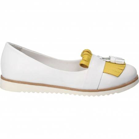 Pantofi Femei, piele, casual, alb cu galben