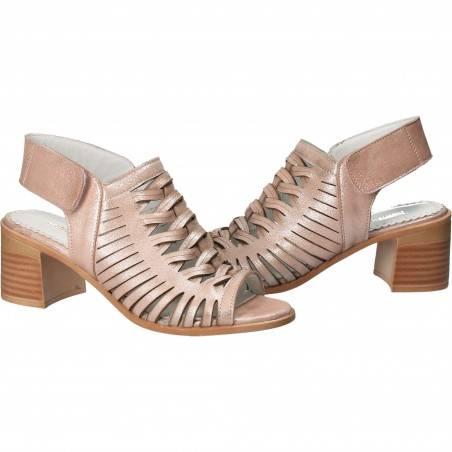 Sandale glamour, roz, toc mediu, piele naturala