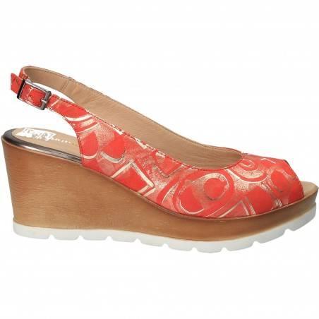 Sandale fashion, rosii, cu imprimeu auriu