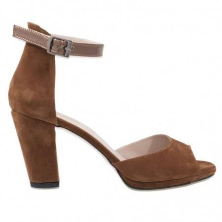Sandale pe glezna, toc gros, maro
