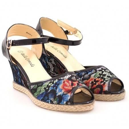 Sandale florale cu dantela pentru femei