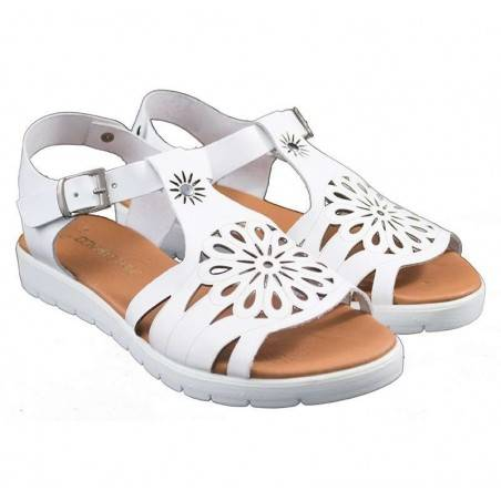 Sandale femei casual piele naturala albe
