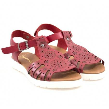 Sandale femei casual piele naturala rosu