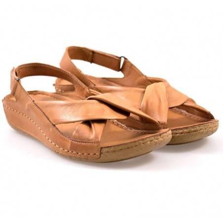 Sandale femei, casual, piele, maro