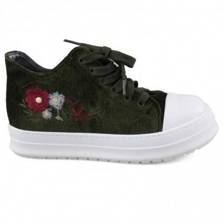 Pantofi Femei casual, negri cu floricele