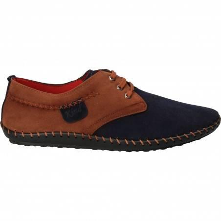 Pantofi Barbati Casual Piele Ecologica Albastri cu talpa cusuta