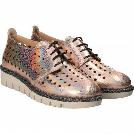 Pantofi Femei, casual, piele roz metalizat