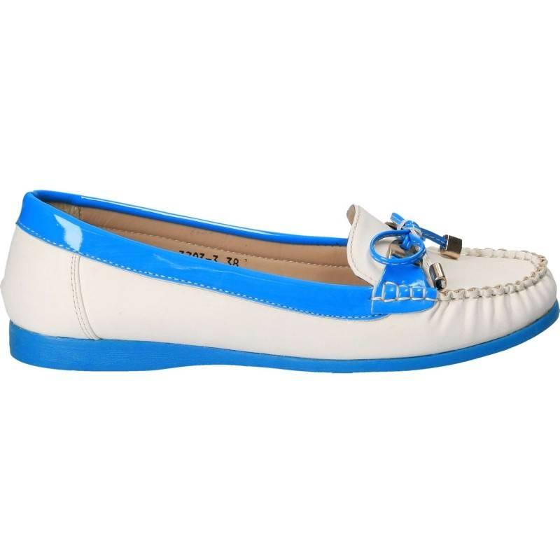 Mocasini Femei alb cu albastru
