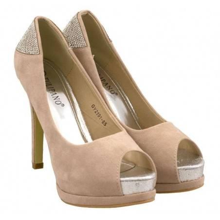 Pantofi de ocazie, pentru femei, culoarea bej
