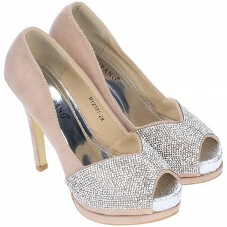 Pantofi Femei Bej cu Toc Inalt si Aplicatii Metalice