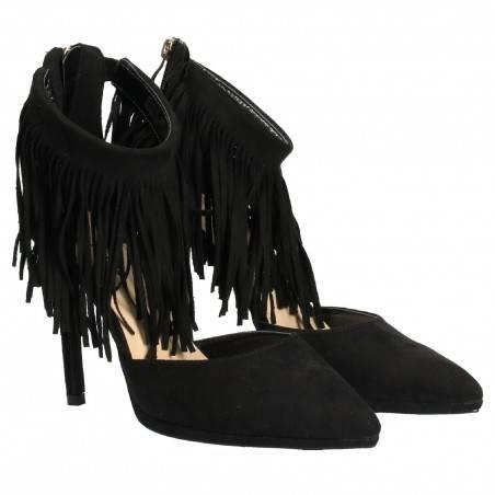 Pantofi Femei Negri cu Toc si Franjuri
