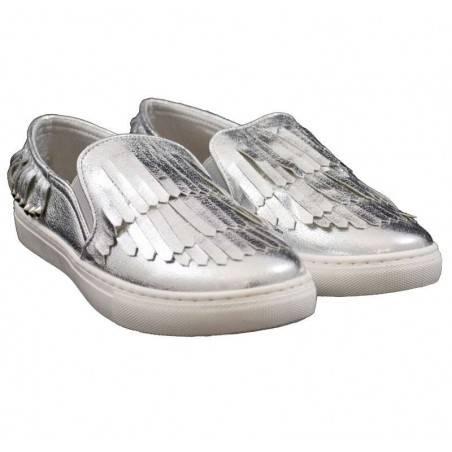 Espadrile argintii, cu franjuri, pentru femei