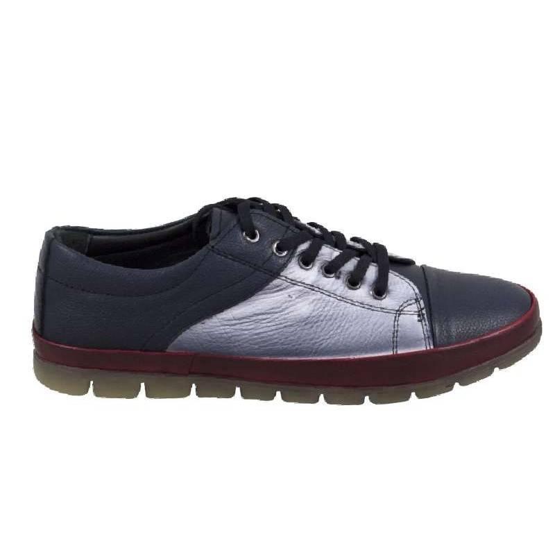 Sneakers dama, piele, cu insertii albe