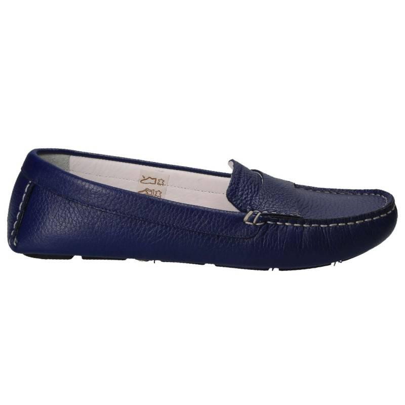 Pantofi piele, mocasin, femei, blue