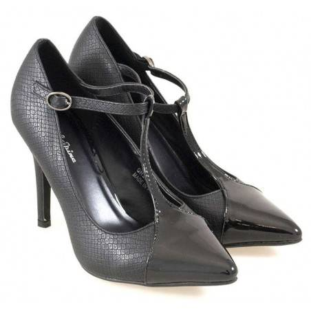 Pantofi Femei Eleganti Negri cu Bareta