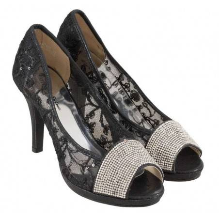 Pantofi Femei Eleganti Negri cu Broderie si Aplicatii Metalice