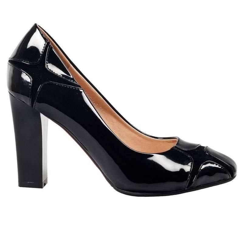 Pantofi femei elegant lac negru