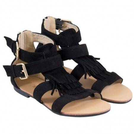 Sandale Femei Casual Negre cu Barete si Franjuri