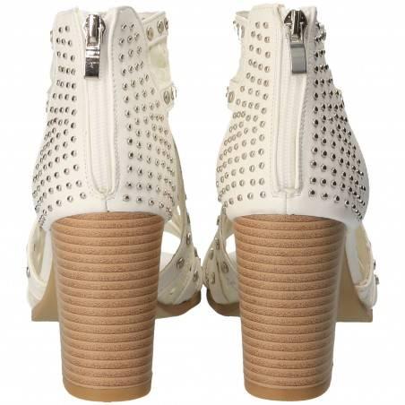 Sandale Femei Trendy Albe cu Accesorii Metalice