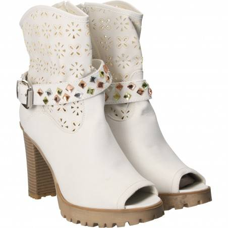 Sandale Femei Inalte Trendy Albe