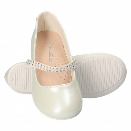Balerini Glamour Fete, culoarea alb perlat, marca Bacio-Bacio