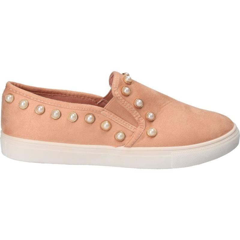 Espadrile cu perle, pentru femei, culoarea roz, marca Flyfor