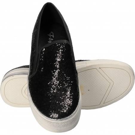 Espadrile negre glamour, pentru femei, Flyfor