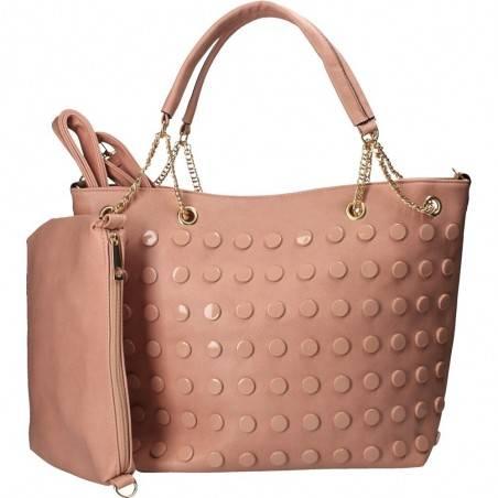 Geanta trendy, cu buline, culoarea roz