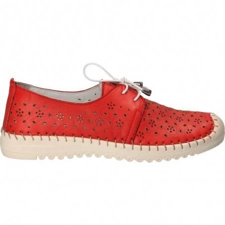 Pantofi de vara, din piele naturala, culoarea rosie