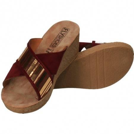 Saboti femei Bordeaux cu auriu, marca Fly Shoes