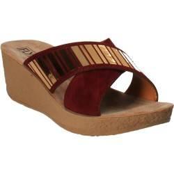 Saboti femei Bordeuax cu auriu, marca Fly Shoes