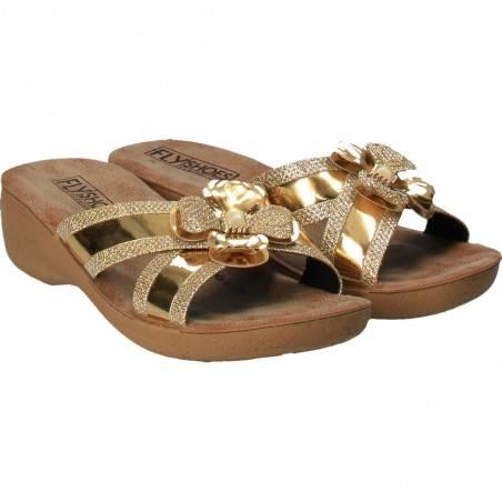 Saboti Fly Shoes, glamour, aurii pentru femei