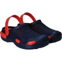 Papuci gen crocs, bleumarin cu rosu