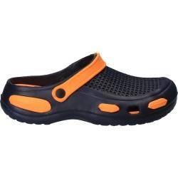 Saboti stil crocs, bleumarin cu portocaliu