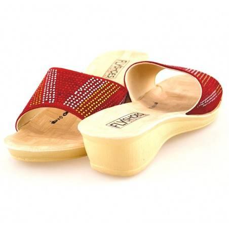 Saboti rosii, pentru Femei, cu strasuri, marca Fly Shoes
