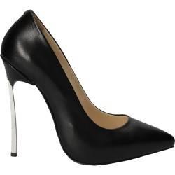 Pantofi stiletto, toc fier, din piele naturala