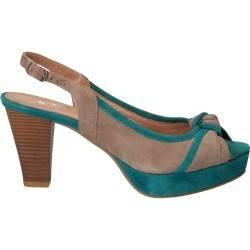 Sandale din piele intoarsa, stil elegant, turcoaz cu gri